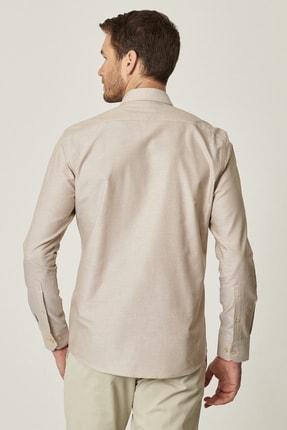 Altınyıldız Classics Erkek Kahverengi Tailored Slim Fit Dar Kesim Düğmeli Yaka %100 Koton Gömlek 3
