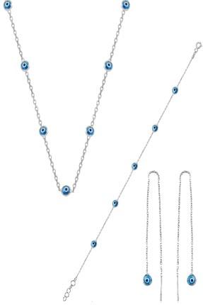 Söğütlü Silver Gümüş Rodyumlu,Cam Göz Nazar Kolye Küpe Ve Bileklik  Gümüş Set 0