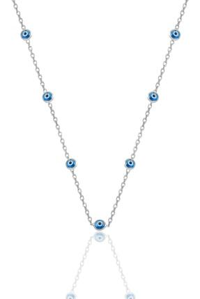 Söğütlü Silver Gümüş Rodyumlu,Cam Göz Nazar Kolye Küpe Ve Bileklik  Gümüş Set 1