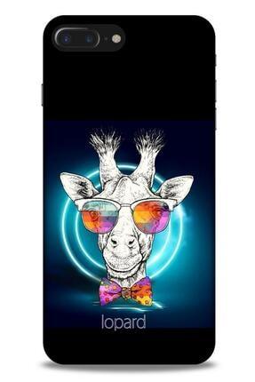 Lopard Apple Iphone 8 Plus Kılıf Funnymax (6) Silikon Kılıf Siyah Zürafa 0