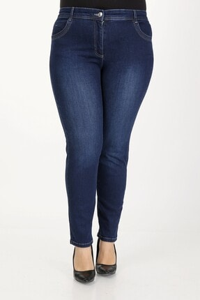 E Collection Büyük Beden Full Likralı Jeans Pantolon 0