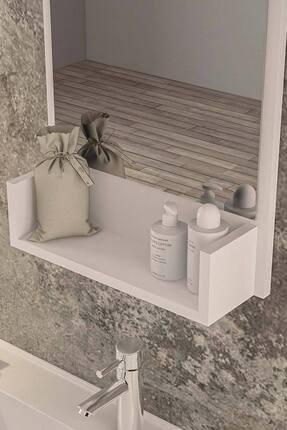 bluecape Inci Beyaz 75cm Raflı Banyo Dolabı Wc Ofis Çocuk Yatak Odası Bahçe Lavabo Aynası 2