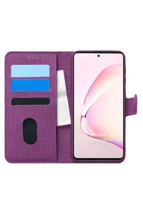 Samsung Microsonic Galaxy Note 10 Lite Kılıf Fabric Book Wallet Mor 0