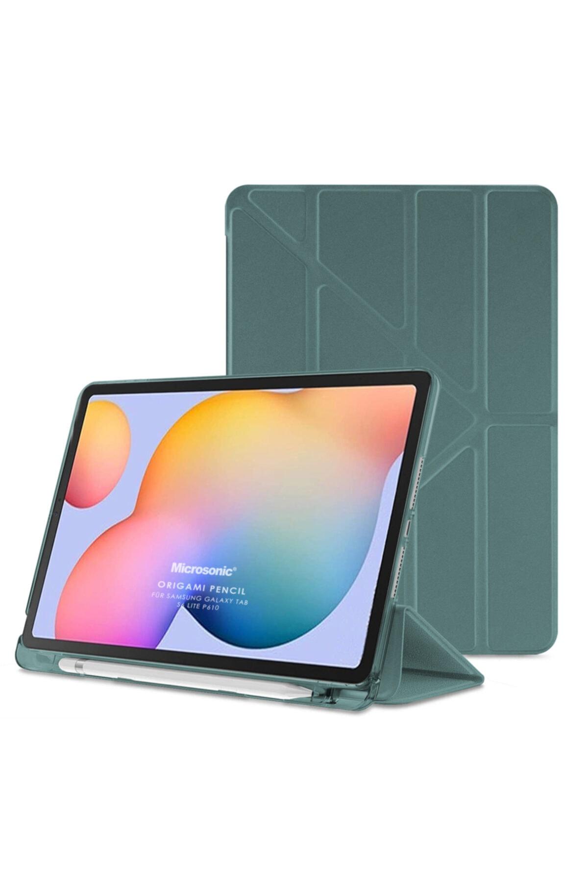"""Microsonic Galaxy Tab S6 Lite 10.4"""" P610 Kılıf Origami Pencil Koyu Yeşil"""