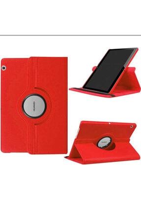 Huawei Microsonic Mediapad T5 10'' Kılıf 360 Rotating Stand Deri Kırmızı 3