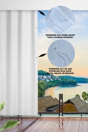 ALTINPAMUK Her Ölçüde Enxboy Seçenekli Kuşgözlü Balkon Perdesi Balkon Brandası Beyaz- 1