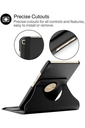 "Samsung Microsonic Galaxy Tab A 8"" 2019 T290 Kılıf 360 Rotating Stand Deri Siyah 2"