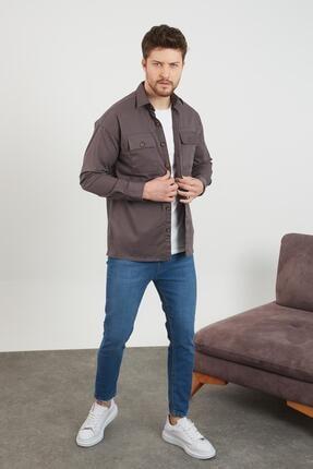 Enuygunenmoda Erkek Slim Fit Keten Gömlek Antrasit 2