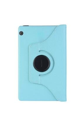Huawei Microsonic Mediapad T5 10'' Kılıf 360 Rotating Stand Deri Mavi 1