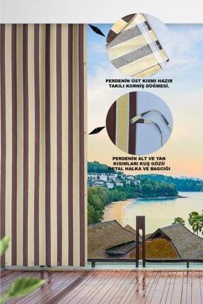 ALTINPAMUK Her Ölçüde Enxboy Seçenekli Kuşgözlü Balkon Perdesi Balkon Brandası Kahve Krem- 1