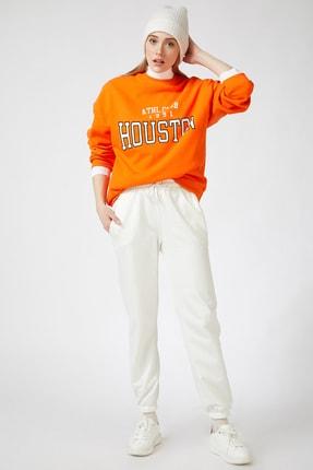 Happiness İst. Kadın Oranj Baskılı Polarlı Sweatshirt HF00169 1