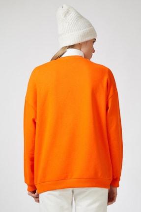 Happiness İst. Kadın Oranj Baskılı Polarlı Sweatshirt HF00169 3