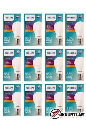 Philips Essential Led Ampul 8w - 60w E27 2700k Sarı Işık ( 12 Li Paket ) 1