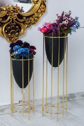 MHK Collection Altın Renkli 2'li Büyük Ayaklı Vazo, Çiçeklik 1