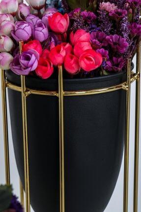 MHK Collection Altın Renkli 2'li Büyük Ayaklı Vazo, Çiçeklik 3