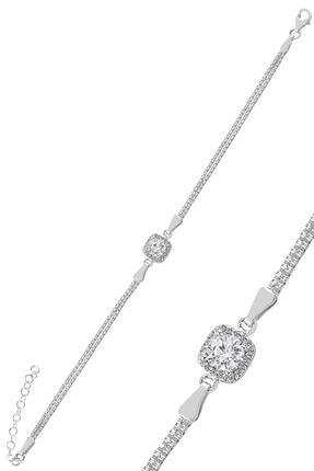 Söğütlü Silver Gümüş Zirkon Taşlı Kare Pırlanta Montürlü Gümüş Üçlü Set 2