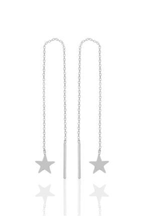 Söğütlü Silver Gümüş Rodyumlu Yıldız Gümüş Zincir Küpe 0
