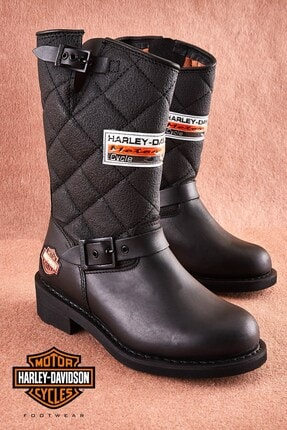 Harley Davidson Laconia Black Deri Kadın Bot 1