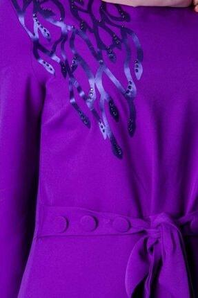 BURCU TESETTÜR Kemer Detayli Lazer Baskılı Elbise Dlr3510 Mor 3