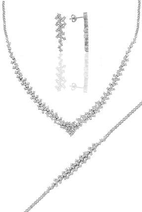 Söğütlü Silver Gümüş Rodyumlu Pırlanta Modeli Su Yolu Gümüş Takım. 0