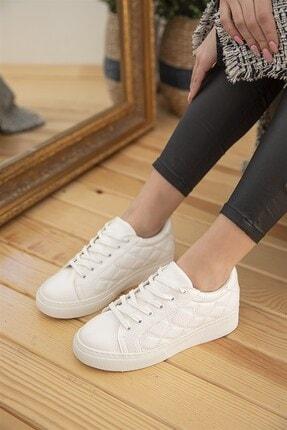 Straswans Kadın Beyaz Kapitone Rugan Spor Ayakkabı 0