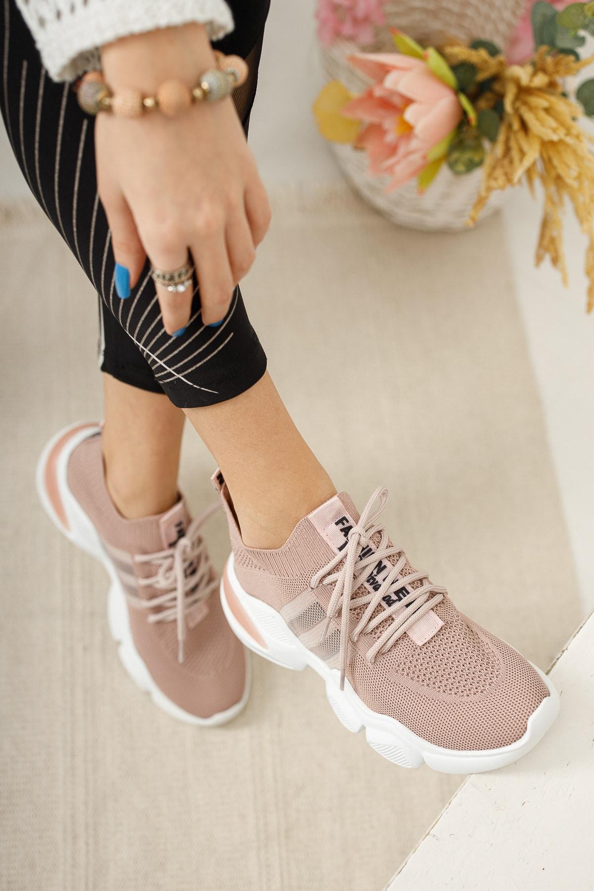 meyra'nın ayakkabıları Pudra Triko Sneakar