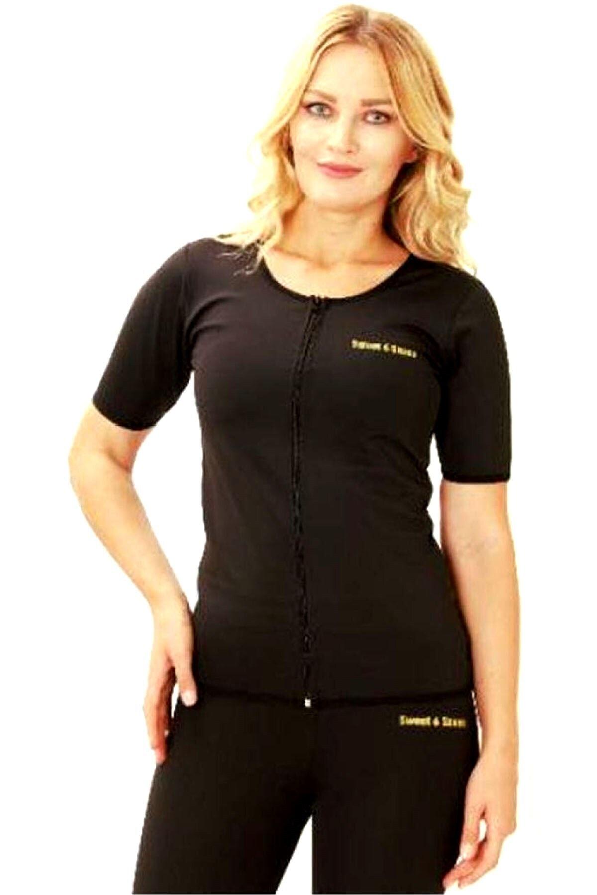 Kadın Sauna Termal Atlet Kısa Kollu Fermuarlı Sauna Etkili Termal Atlet