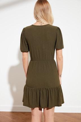 TRENDYOLMİLLA Haki Kruvaze Yaka Örme Elbise TWOSS21EL0377 3