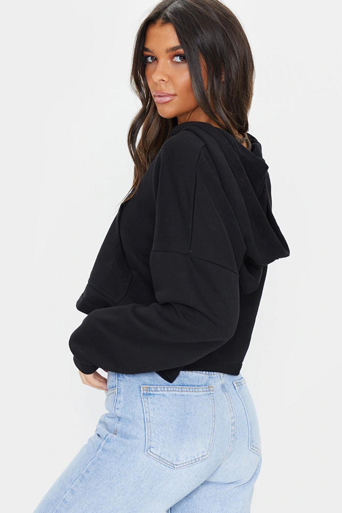 Soufeel Kadın Siyah Crop Kısa V Yaka Kapüşonlu Sweatshirt