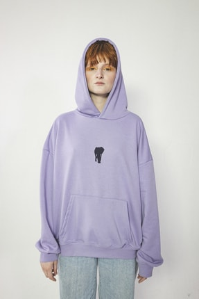 Maken Merry Unisex Özel Tasarım Chaos Lila Oversize Kapüşonlu Sweatshirt 1