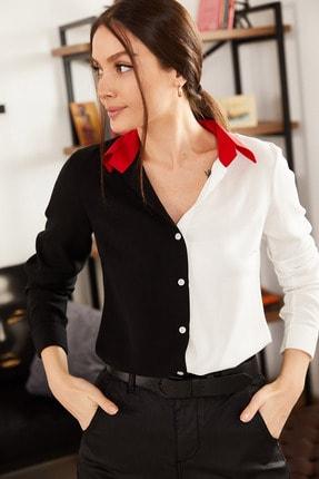 armonika Kadın Siyah Bloklu Uzun Kollu Gömlek ARM-21K001103 2