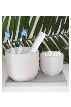 Beton Banyo Seti Diş Fırçalık, Pamukluk, Sabunluk, Tepsii ArtCouture069