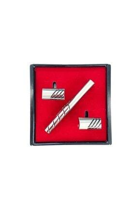 Brianze Gümüş Renk Kol Düğmesi Ve Kravat Iğnesi Set Kd-79 0