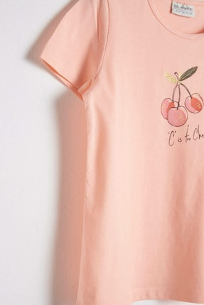 LC Waikiki Kız Çocuk Şeftali G6S T-Shirt 3