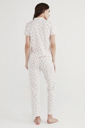 Penti Kadın Beyaz Çiçekli Pijama Takımı 3