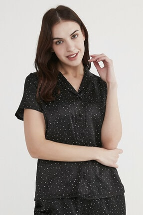 Penti Kadın Siyah Minimal Dark Saten Pijama Takımı 2