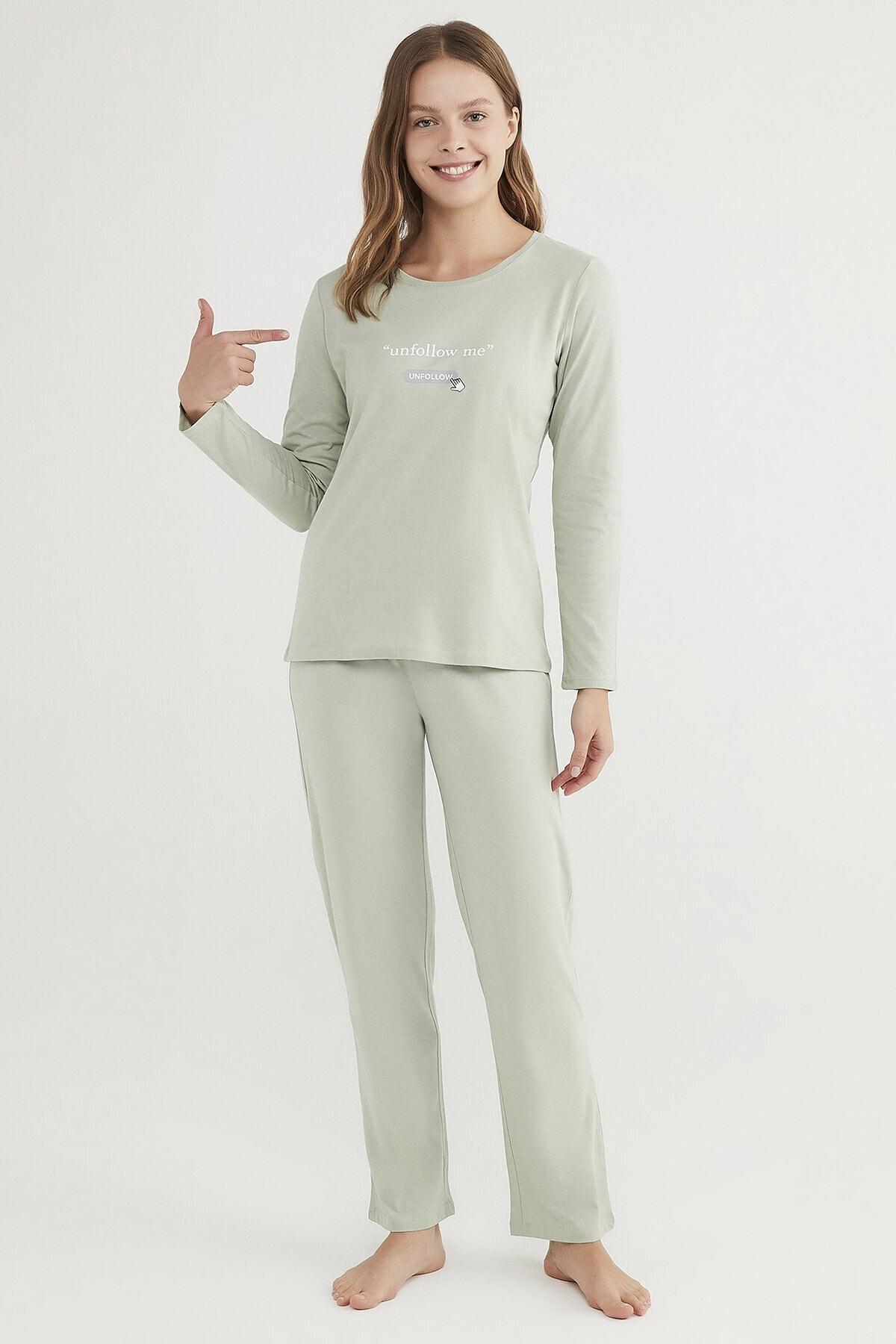 Mint Yeşili Base Unfollow Pijama Takımı