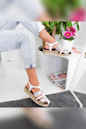 Limoya Tinsley Beyaz Gümüş Kalın Hasır Tabanlı Hakiki Deri Sandalet 0