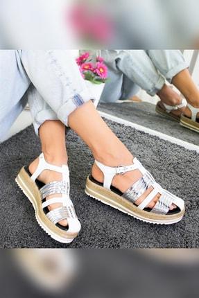 Limoya Tinsley Beyaz Gümüş Kalın Hasır Tabanlı Hakiki Deri Sandalet 3