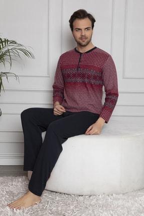 FALKOM Erkek Bordo Uzun Kollu Düğmeli Pijama Takımı 3