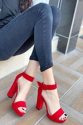 MODAADAM Kadın Margaret Süet Topuklu Ayakkabı Kırmızı 1