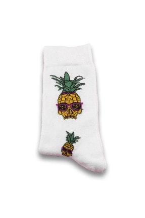 Socksarmy Kanada Bayrağı Muz Ananas Desenli 6 'lı Ahşap Kutulu Çorap Seti 3