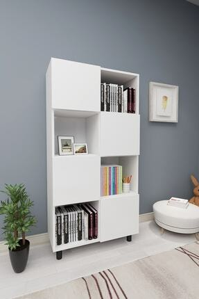 ROSETTE Beyaz Kapaklı Modern Kitaplık 1