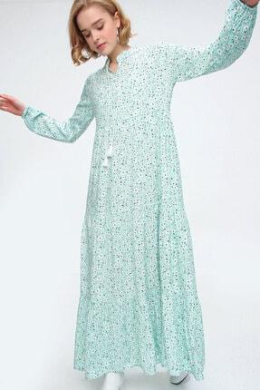 Bigdart Kadın Yeşil Volanlı Elbise 10313 0