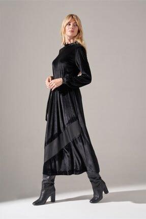 Mizalle Deri Detaylı Kadife Elbise (Siyah) 3