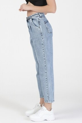 its basic Kadın Mavi Kot Rengi Yüksek Bel Balon Jeans 4