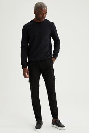 Defacto Erkek Siyah Bisiklet Yaka Regular Fit Basic Sweatshirt 1