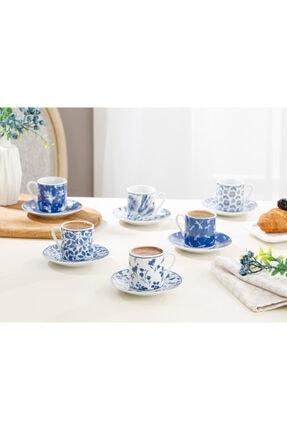 English Home Bella Porselen 6'lı Kahve Fincan Takımı 80 Ml Lacivert 2