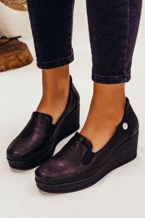 Siyah Simli Dolgu Taban Hakiki Deri Bağcıksız Kadın Günlük Ayakkabı • A212kdyl0026 A212KDYL0026