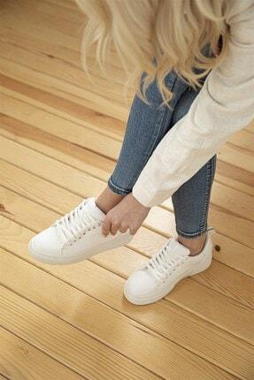Straswans Kadın Rugan Spor Ayakkabı Beyaz 0